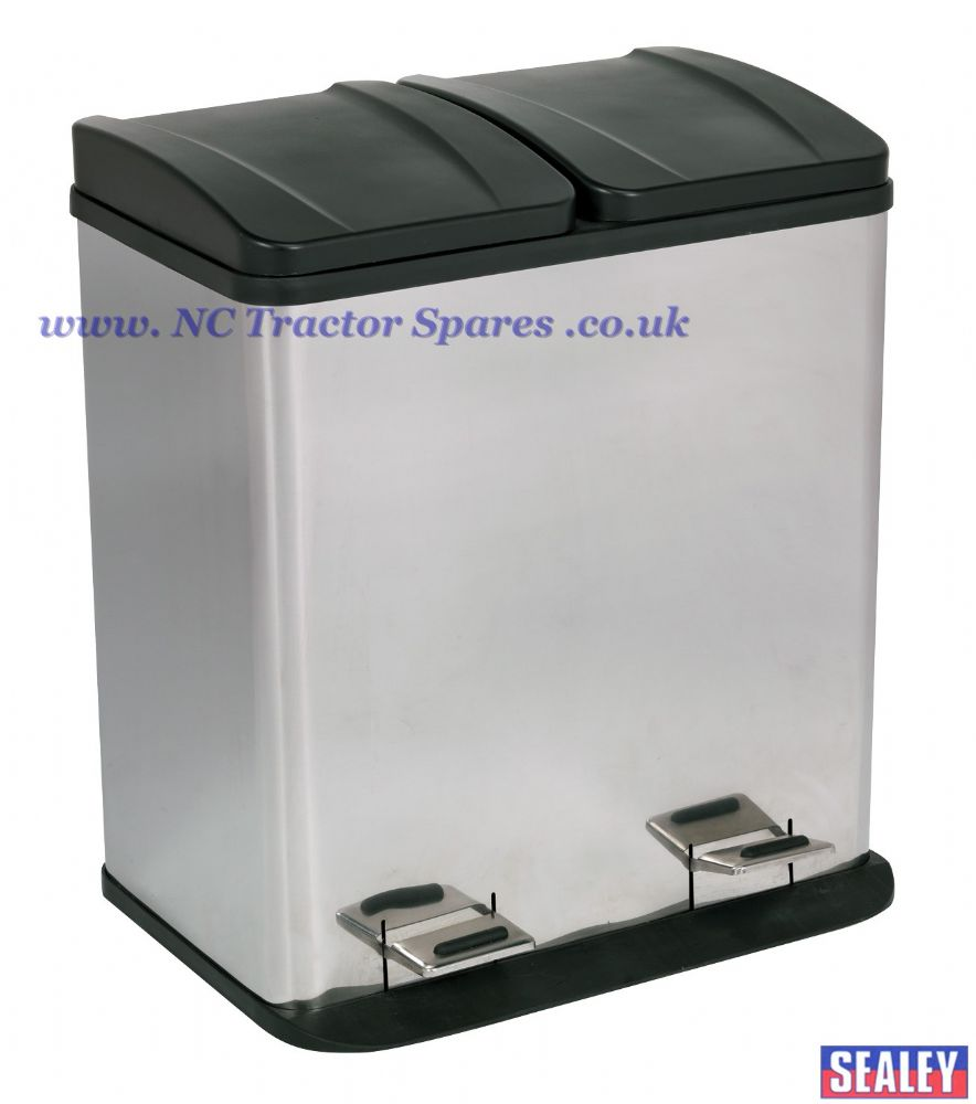 Pedal Bin Recycling 40ltr Stainless Steel